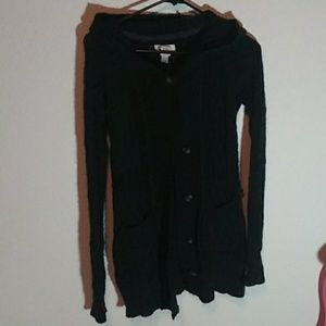 Black long sweater with buttons